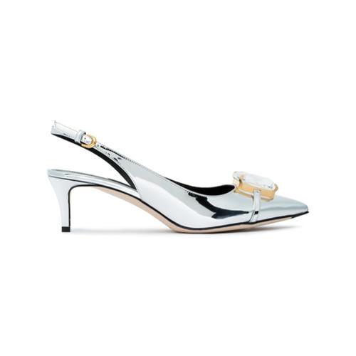 Zapatos de tacón de cuero plateados de Marco De Vincenzo
