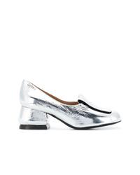 Zapatos de tacón de cuero plateados de Marni