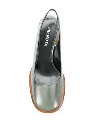 Zapatos de tacón de cuero plateados de Premiata
