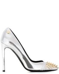 Zapatos de tacón de cuero plateados de Philipp Plein