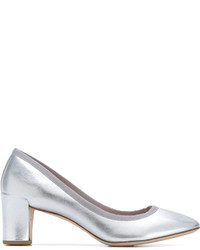 Zapatos de Tacón de Cuero Plateados de Repetto