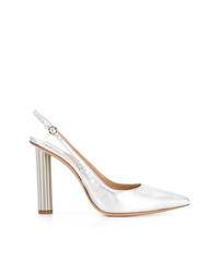 Zapatos de tacón de cuero plateados de Salvatore Ferragamo