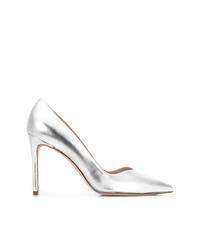 Zapatos de tacón de cuero plateados de Stuart Weitzman