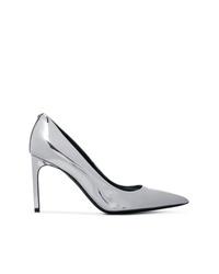 Zapatos de tacón de cuero plateados de Tom Ford