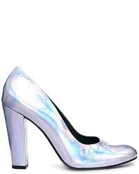Zapatos de tacón de cuero plateados de Won Hundred