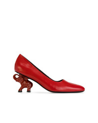 Zapatos de tacón de cuero rojos de Dorateymur