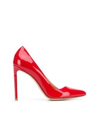 Zapatos de tacón de cuero rojos de Francesco Russo