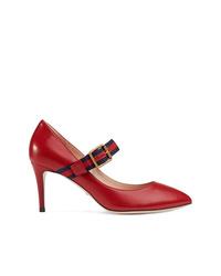 Zapatos de Tacón de Cuero Rojos de Gucci