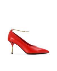 Zapatos de tacón de cuero rojos de Jil Sander