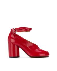 Zapatos de Tacón de Cuero Rojos de Maison Margiela