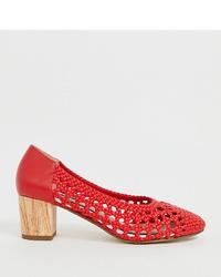 Zapatos de tacón de cuero rojos de Miss Selfridge