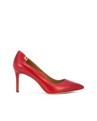 Zapatos de tacón de cuero rojos de Tory Burch