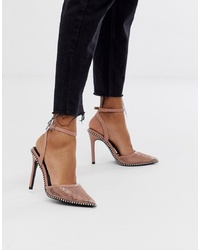 Zapatos de tacón de cuero rosados de ASOS DESIGN