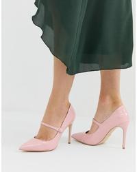 Zapatos de tacón de cuero rosados de Faith
