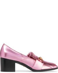 Zapatos de Tacón de Cuero Rosados de Gucci
