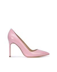 Zapatos de tacón de cuero rosados de Manolo Blahnik
