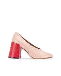 Zapatos de tacón de cuero rosados de Marni