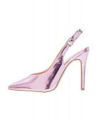 Zapatos de Tacón de Cuero Rosados de New Look