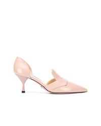 Zapatos de tacón de cuero rosados de Prada