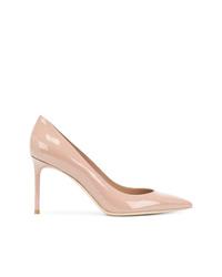 Zapatos de tacón de cuero rosados de Saint Laurent