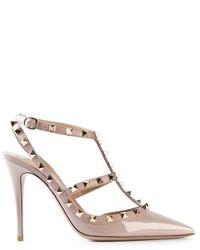 Zapatos de tacón de cuero rosados de Valentino Garavani