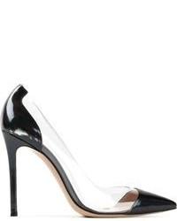 Zapatos de tacón de cuero transparentes