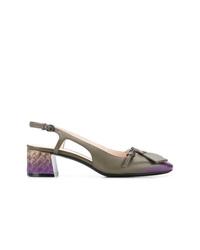 Zapatos de tacón de cuero verde oliva de Bottega Veneta
