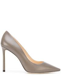 Zapatos de tacón de cuero verde oliva de Jimmy Choo