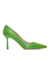 Zapatos de tacón de cuero verdes de Miu Miu