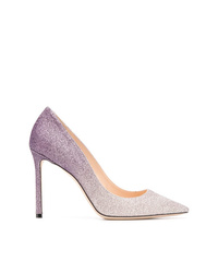 Zapatos de tacón de cuero violeta claro de Jimmy Choo