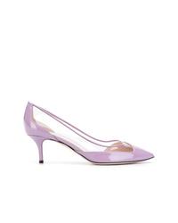Zapatos de tacón de cuero violeta claro de Pollini