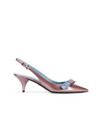 Zapatos de tacón de cuero violeta claro de Prada