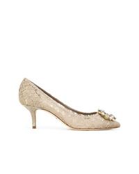 Zapatos de tacón de encaje en beige de Dolce & Gabbana