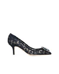 Zapatos de tacón de encaje negros de Dolce & Gabbana