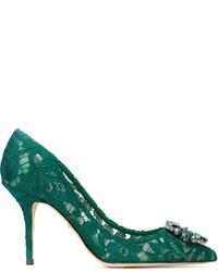 Zapatos de tacón de encaje verdes de Dolce & Gabbana