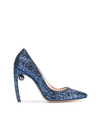 Zapatos de tacón de lentejuelas azules