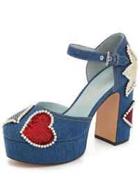 Zapatos de tacón de lentejuelas azules de Marc Jacobs