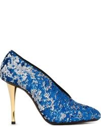 Zapatos de tacón de lentejuelas con adornos azules de Lanvin