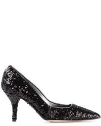 Zapatos de Tacón de Lentejuelas Negros