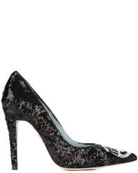 Zapatos de Tacón de Lentejuelas Negros de Chiara Ferragni