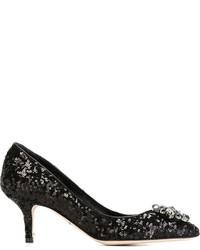 Zapatos de Tacón de Lentejuelas Negros de Dolce & Gabbana