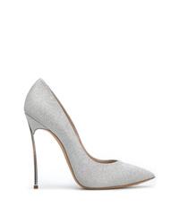 Zapatos de tacón de lentejuelas plateados de Casadei