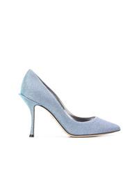 Zapatos de tacón de lona celestes