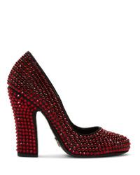 Zapatos de tacón de lona con adornos rojos de Prada