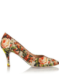 e89008a3b46 Vestido skater burdeos Zapatos de tacón de lona con print de flores en  multicolor ...