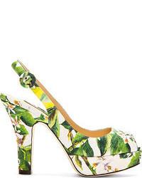 Zapatos de tacón de lona estampados verdes de Dolce & Gabbana