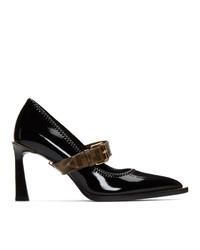 Zapatos de tacón de lona negros de Fendi
