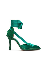 Zapatos de tacón de lona verdes de Castaner