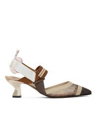 Zapatos de tacón de malla de rayas horizontales en multicolor de Fendi