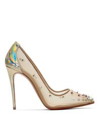 Zapatos de tacón de malla en beige de Christian Louboutin